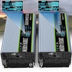 12/24V DC to 120V AC Pure Sine Wave Inverter 2000W 4000 Watt LCD Car USB US Plug