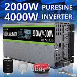 12V DC to 120V AC Pure Sine Wave Inverter 2000W 4000 Watt LCD RV Car USB US Plug
