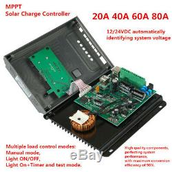 20/40/60/80A 12/24V MPPT LCD Solar Panel Battery Charge Controller+10pcs Screws#