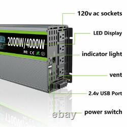 2000W 4000Watt Pure Sine Wave Power Inverter 12V DC to 110V 120V AC LCD 2USB LCD