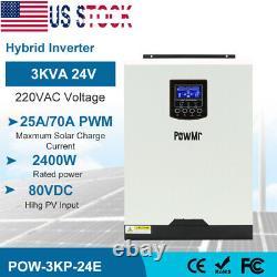 3000W Hybrid Inverter Built-in 60A Solar PMW Solar Controller DC24v AC220V