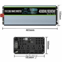 4000With8000W Pure Sine Wave Power Inverter 12V DC to 110V 120V AC Converter 60Hz