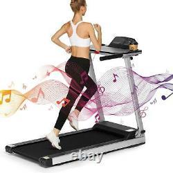 600W Folding Electric Treadmills Running Machine with Desk&Bluetooth APP