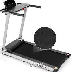 600W Folding Electric Treadmills Running Machine with Desk&Bluetooth Speaker