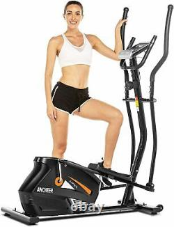ANCHEER Magnetic Elliptical Machine Powerful Trainer Exercise with Bluetooth LCD