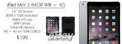 Apple IPad MINI 3 64GB Wifi + 4G Space Gray UNLOCKED 7.9 BUNDLE SURVIVOR CASE