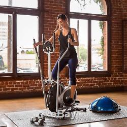 BCP 2-in-1 Elliptical Trainer Exercise Fitness Bike with LCD Display Gray