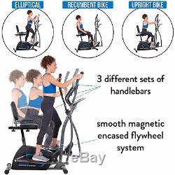 Body Champ 3 in 1 Trainer Machine with Elliptical, Upright Bike, & Recumbent Bike