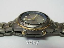 Citizen Titanium/gold Solar Eco-drive Alarm Chronograph C605-q00567 Ana Digi Utc