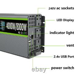 DC 12V To AC 240V Pure Sine Wave Power Inverter 4000With8000W &LCD Display Remote
