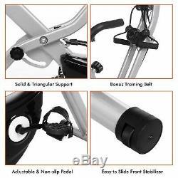 Folding 10 Levels Magnetic Resistance Upright Exercise Bike+Backrest Pad Gray