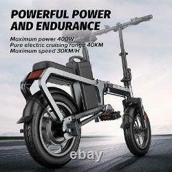 Folding 14Electric Bicycle 400W Mountain Bike Chainless Moped e-City Snow ebike
