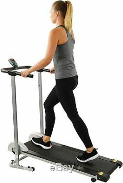 Manual Walking Treadmill with LCD Display, Compact Folding, Portability Wheels