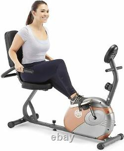 Marcy Recumbent Exercise Bike 8 Resistance Levels Padded Seat LCD Workout Gym