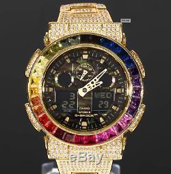 Mint G Shock GA100 Custom Rainbow Bezel Large Grain CZ zirconia 18K Gold Rare