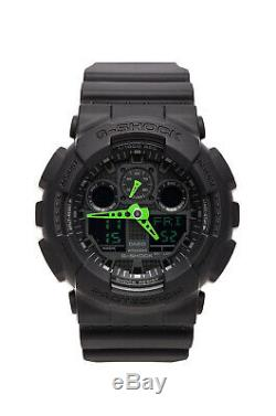 New Casio G-Shock GA-100 Black Green Analog-Digital Men Watch