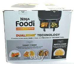 Ninja DZ201 Foodi 6-In-1 2-Basket Air Fryer DualZone Technology 8 Quart