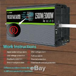 Power Inverter 24V To AC 120V Pure Sine Wave 1500W 3000W 60Hz LCD USB Charger US