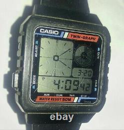 RARE Mens Vintage Casio AE20W Mod 588 Twin Graph LCD Wrist Watch