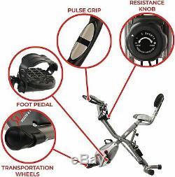 Sunny Health & Fitness Foldabl Semi Recumbent Magnetic Upright Exercise Bike LCD