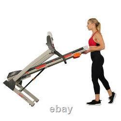 Sunny Health and Fitness Folding Treadmill withDevice Holder, Shock Absorption