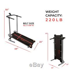 Sunny Health and Fitness SF-T1407M Manual Compact Walking Treadmill LCD Monitor