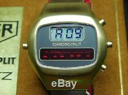 Vintage Heuer Chronosplit III LCD/LED Gold Filled Leather Strap Model R 100 725